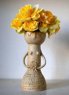 Little lady ceramic vase. Pottery Vase, Ceramic Pottery, Ceramic Art, Clay Vase, Handmade Christmas Decorations, Pottery Classes, Ceramic Flowers, Modern Ceramics, Mellow Yellow