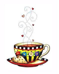 Tea cup and cookie; by Mary Engelbreit Mary Engelbreit, Tee Kunst, Tea Art, Jolie Photo, Coffee Art, Hot Coffee, Coffee Break, Coffee Shop, Coffee Cups