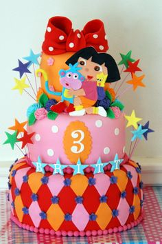 Dora cakes change colour to pinks and purples Baby Cakes, Girl Cakes, Cupcake Cakes, Dora Cake, 3rd Birthday Cakes, Happy Birthday, Different Cakes, Character Cakes, Toffee