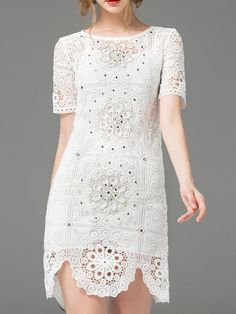 Buy it now. White Crochet Hollow Out Beading Dress. White Round Neck Short Sleeve Polyester Shift Short Fabric has no stretch Summer Elegant Day Dresses. , vestidoinformal, casual, camiseta, playeros, informales, túnica, estilocamiseta, camisola, vestidodealgodón, vestidosdealgodón, verano, informal, playa, playero, capa, capas, vestidobabydoll, camisole, túnica, shift, pleat, pleated, drape, t-shape, daisy, foldedshoulder, summer, loosefit, tunictop, swing, day, offtheshoulder, smock, pr...