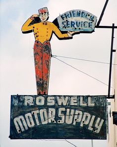 ROSEWELL MOTOR SUPPLY' in Rosewell, New Mexico. It is a terrific old sign, the design is so indicative of the 1940s, when the majority of Americans were on the road touring the US. It is unknown if the gas station is still in business.