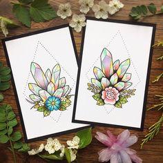 Geometric Pastel Crystals Botanical Tattoo Flash PRINT by Michelle Kent