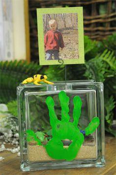 Kids Handprint Glass Block