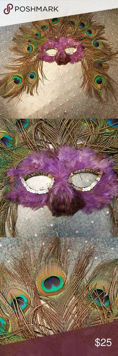 Mardi Grad handmade peacock feather mask Vintage handmade Madi Gras mask.  Purple and peacock feathers.   Purple shows fading but still an incredible mask.  Halloween?  Masquerade party? Other