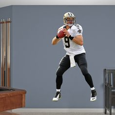 Drew Brees - No. 9 REAL.BIG. Fathead Wall Graphic | New Orleans Saints Wall Decal | Sports Home Décor | Football Bedroom/Man Cave/Nursery