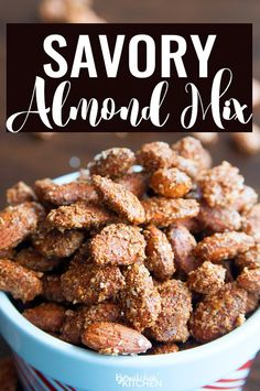 This recipe for savory almond mix is the perfect blend of sweet, salty and spicy. I can't stop eating them! Spiced nuts are a favorite snack of mine. This recipe is from Windsor Salt's website and makes a tasty party snack. Spicy Nuts, Spicy Almonds, Savory Spiced Nuts Recipe, Flavored Almonds Recipe, Healthy Snacks, Healthy Recipes, Healthy Eating, Cant Stop Eating, Stay Fit