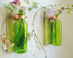 Colored Bottle Pair each mounted on Wood Base for unique rustic wall decor bedroom decor kitchen decor