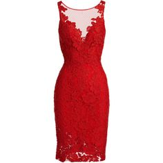 Ml Monique Lhuillier Sleeveless Floral Lace Sheath Cocktail Dress (560 BRL) ❤ liked on Polyvore featuring dresses, red, vestidos, short dresses, red lace dress, red mini dress, lace cocktail dress and floral dresses