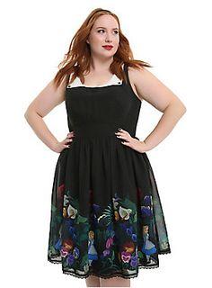 3d3c33ad2ad Disney Alice In Wonderland Flowers Peter Pan Collar Border Print Dress Plus  Size