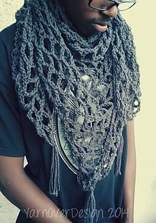 Triangle Scarf or Shawl - Free crochet pattern by Acquanetta Ferguson. Aran weight yarn, 8mm hook.