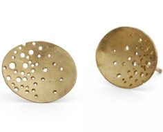 Kate Smith's glittering gold studs with small drilled holes. In stock ready for christmas £185 #unusual #designer #handmade #earrings #London #NudeJewellery
