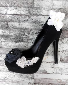 Upcycled French High Heel Black Shoes Shabby by TrueRebelClothing, 56.00