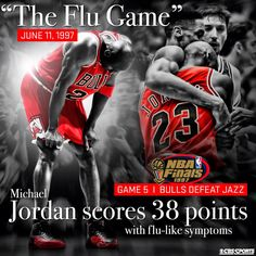 "18 years ago today, Michael Jordan had 1 of the greatest games in Finals history. It was the infamous ""Flu Game"""