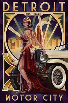 Detroit Michigan - Deco Woman and Car (9x12 Art Print Wall Decor Travel Poster)