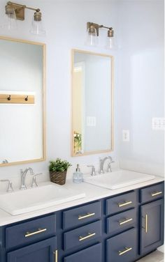 - Overview - Details - Why We Love It - With its crisp transitional design and cone shaped glass shades, Enright breathes fresh new life into your bathroom. Simple, yet charming, we are certain this vanity will brighten your bathroom to a whole new level. Navy Blue Bathrooms, Blue Vanity, Bathroom Kids, Design Bathroom, Master Bathroom, Bathroom Canvas, Bathroom Wall, Bathroom Furniture, Bathroom Vanities