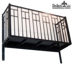 "Contemporary design. 1/2"" pickets wrought iron balcony, 42"" hight. 2 corner posts. True balcony, includes platform and its bottom cover. Powder-coated."
