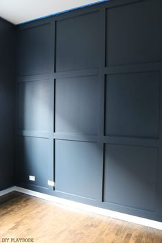 Haus pläne diy_wood_wall_painted_navy_progress_office Should You Get Help With Your Home Heating Pla Navy Accent Walls, Navy Walls, Accent Wall Bedroom, Bedroom Decor, Painted Wood Walls, Wood Panel Walls, Diy Wall Panel, Wood On Walls, Faux Brick Walls
