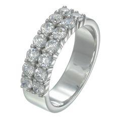 Double setting diamonds wedding ring
