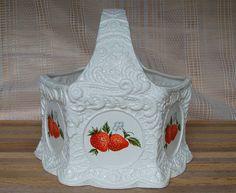 Octagon Ceramic Strawberry Handled Basket fruit Bowl Display Very Detailed!