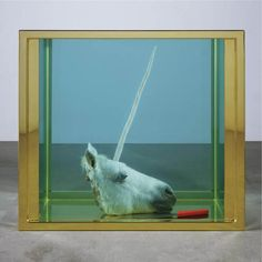Damien Hirst, Broken Dream , 2008. Contemporary art plays with chimeras and the come back of taxidermy in the 21th century. #unicorn #art #artist