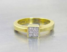 14K Pave Diamond Ring Yellow Gold Square Checkerboard