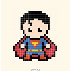 Superman Perler Bead Pattern                                                                                                                                                                                 Más