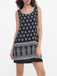 Paisley Printed Tribal Delightful Round Neck Shift-dress
