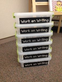 Good idea on how to organize a writing center with specific writing topics and support tools for students.