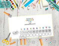 Fine Motor Kids Number Matching Dice Game, Print Cut and Play Dice Math, Busy Binder Activity, Pre-K Learning Tool, Printable DIY Games For Kids, Activities For Kids, Numbers For Kids, Number Activities, Bar Wrappers, Tent Cards, Preschool Printables, Learning Tools, Print And Cut