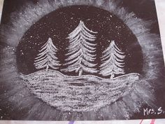 "snow globe stencil for kids | Snowy Trees"" Art Project"