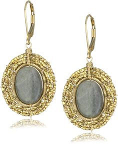 Dana Kellin Oval Labradorite Medallion Earrings. Three rows of hand-cut antique gold plated sterling silver beads surround a reflective labradorite oval center. Dana Kellin's intricate and original method of wire-wrapping is 100% handmade in her studio. With all hand-made pieces the size, shape and overall length may vary slightly. Dana Kellin jewelry is to be cleaned with a dry polishing cloth only. Do not use any liquid jewelry cleaners. Made in United States.