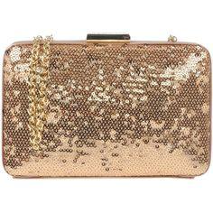 Love Moschino Handbag ($105) ❤ liked on Polyvore featuring bags, handbags, clutches, gold, love moschino handbags, sequined clutches, man bag, handbags clutches and handbag purse