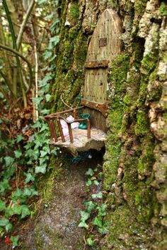 Fairy door under a shelf of bark