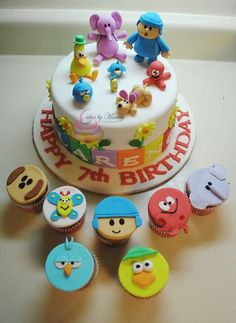 My son's Pocoyo birthday cake and cupcakes by Mandy Trandell Fondant Cupcakes, Cupcake Cakes, Cupcake Toppers, Boys First Birthday Cake, Festa Party, Themed Cupcakes, Novelty Cakes, Pastry Cake, Cakes For Boys