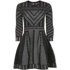 TopShop Geometric Pattern Fit and Flare Knitted Dress ($130) ❤ liked on Polyvore featuring dresses, elbow sleeve dress, day party dresses, going out dresses, party dresses and night out dresses