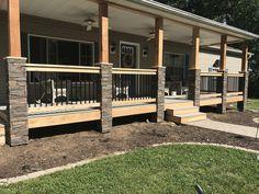 porch columns front porch pillars by laci genstone Mobile Home Porch, Mobile Home Exteriors, Front Porch Addition, Front Porch Design, Patio Design, Front Porch Pillars, Front Porch Railings, Concrete Front Porch, Porch Wood