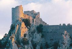 Château de Puilaurens, located on the Mont Ardu at an altitude of 700 meters, in the Cathar region, South of France.