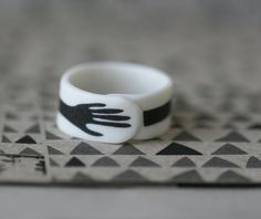 Hand - Black - Porcelain Ring $32 #jewelry #ooak