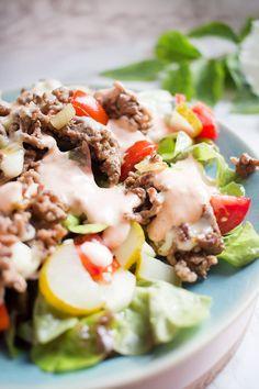 Der allseits beliebte Low Carb Cheeseburger Salat (neue Version) | Low Carb Köstlichkeiten