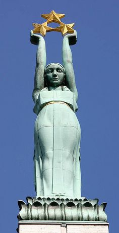 Monument of Freedom, #Riga, #Latvia --- Do you think her arms ever get tired? ---