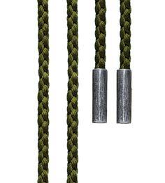 Ole Lynggaard Copenhagen Olive Green Mokuba silk string with silver ends length 130 cm - Kennedy Jewellers