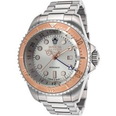 Today Recommend - Mens Reserve Hydromax GMT Stainless Steel Silver Tone Dial Rose Tone Accents - Invicta Watch