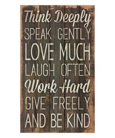 'Think Deeply' Wall Sign | zulily