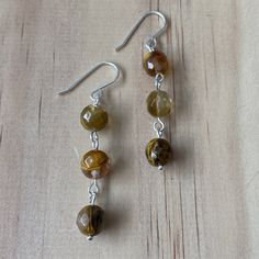 Faceted Cherry Quartz Sterling Silver Earrings