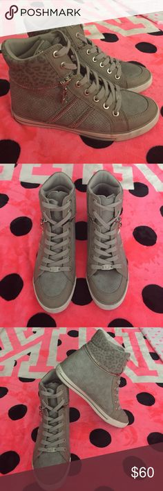 Guess High-top lace up sneakers size 9 Gray G by Guess High-tops. They're in great condition and have been gently used! Make an offer through offer section, not in comments! Thanks :) G by Guess Shoes Sneakers