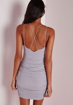 Missguided - Slinky Double Strap Ruched Bodycon Dress Grey