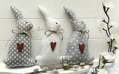 Veľká Noc - Bunnies in Love ♥ - Happy Easter, Easter Bunny, Rabbit Crafts, Diy Ostern, Fabric Animals, Vintage Easter, Sewing Toys, Handmade Decorations, Spring Crafts