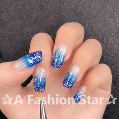 Nail Design ✰A Fashion Star✰ - nails - Bright Pink Nails, Pink Nail Art, Nail Art Diy, Blue Nails, Diy Nails, Manicure, Shellac Nail Art, Cute Acrylic Nails, Nail Polish