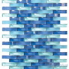 Royal Blue Arch Wavy Glass Mosaic Tiles VG-UWY94