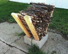 Cement blocks and lumber scraps make convenient kindlin rack
